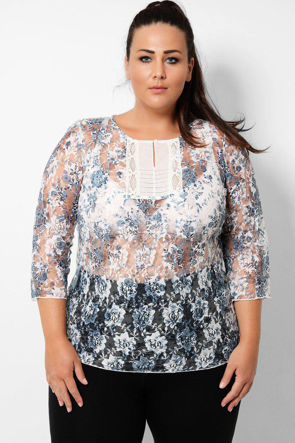 White Blue Sheer Floral Lace Top - SinglePrice