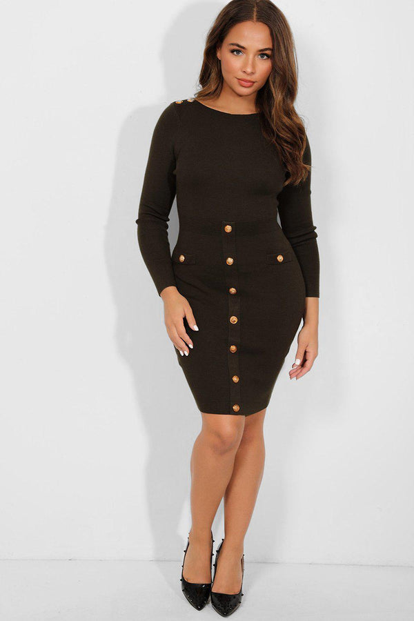Gold Buttons Khaki Bateau Neckline Knitted Dress-SinglePrice