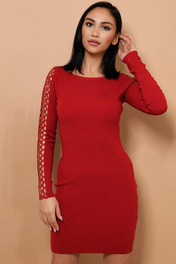 Burgundy Embellished Star Lace Soft Knit Mini Dress - SinglePrice