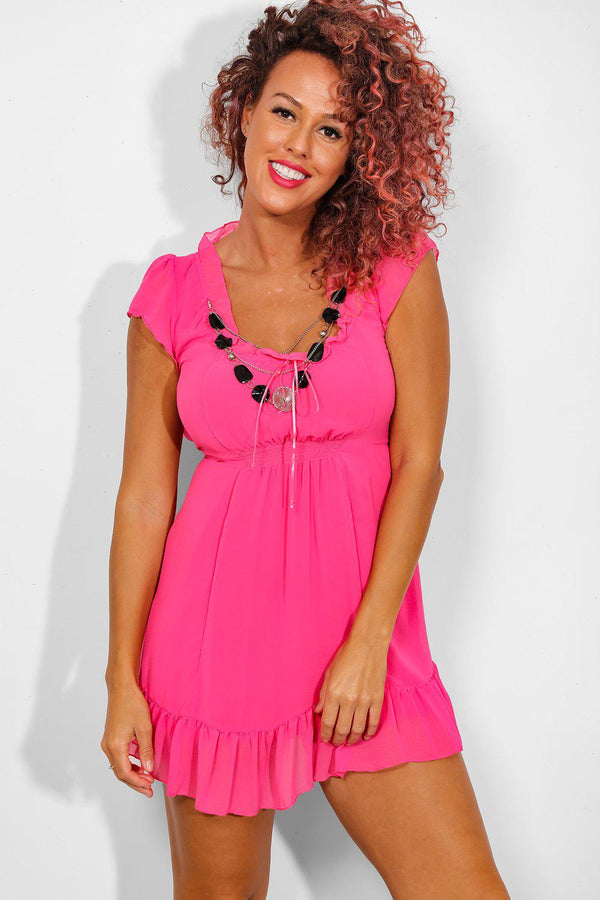 Hot Pink Detachable Necklace Babydoll Dress - SinglePrice