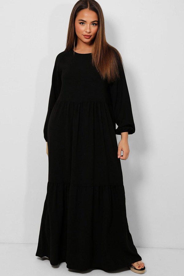 All Black Tiered Lazy Fit Maxi Dress - SinglePrice