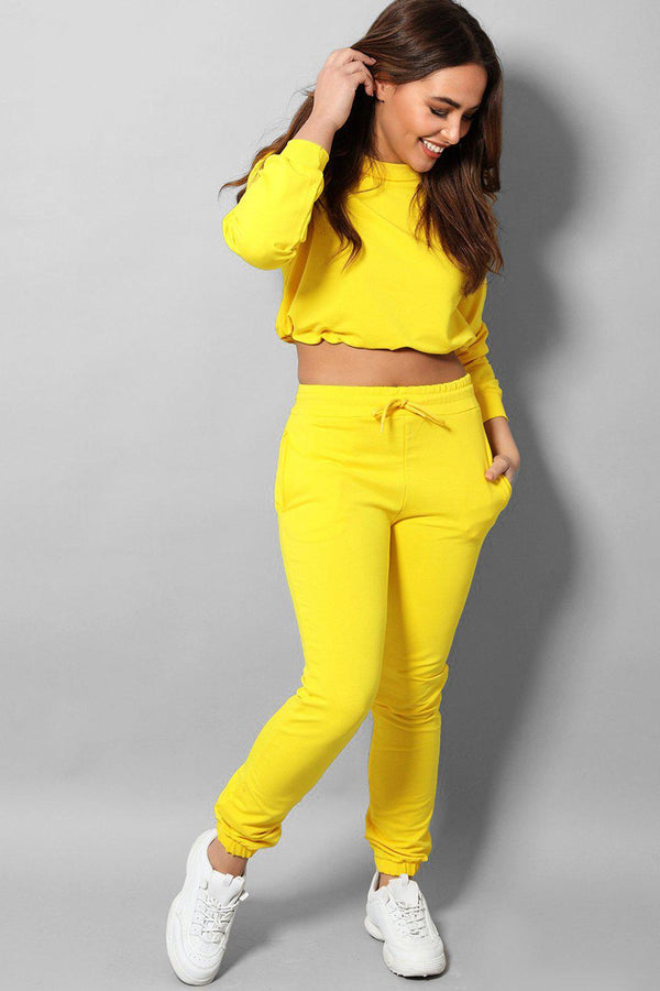 Yellow Cropped Drawstring Top 2 Piece Tracksuit - SinglePrice