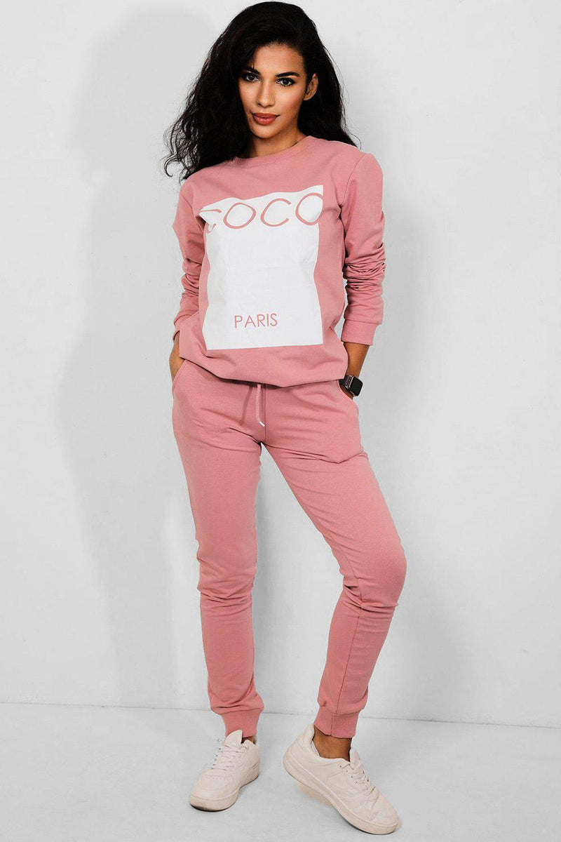 Pink Colourblock Slogan Panel Cotton Blend Tracksuit-SinglePrice