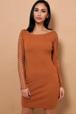 Brown Embellished Star Lace Soft Knit Mini Dress - SinglePrice
