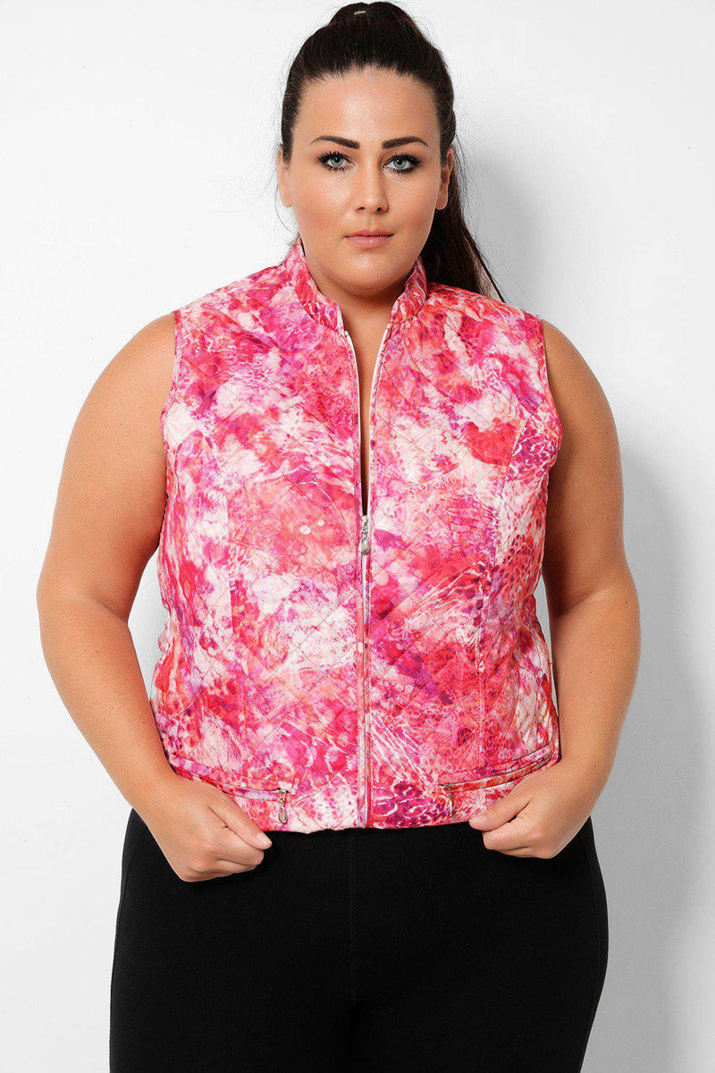 Pink Sleeveless Tie Dye Quilted Gilet - SinglePrice