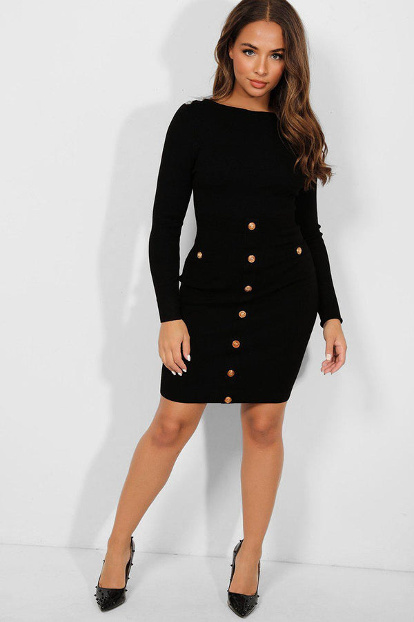 Gold Buttons Black Bateau Neckline Knitted Dress