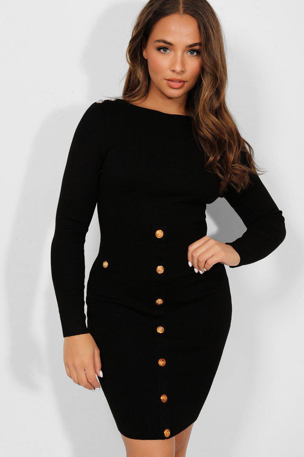 Gold Buttons Black Bateau Neckline Knitted Dress-SinglePrice