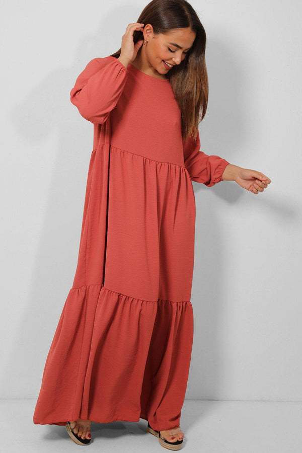 All Mauve Tiered Lazy Fit Maxi Dress - SinglePrice