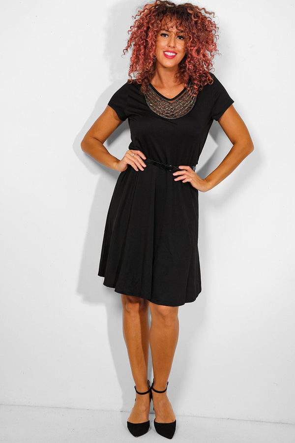 Black Beaded Neckline Midi Dress - SinglePrice