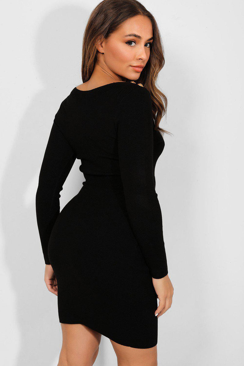 Gold Buttons Black Bateau Neckline Knitted Dress - SinglePrice