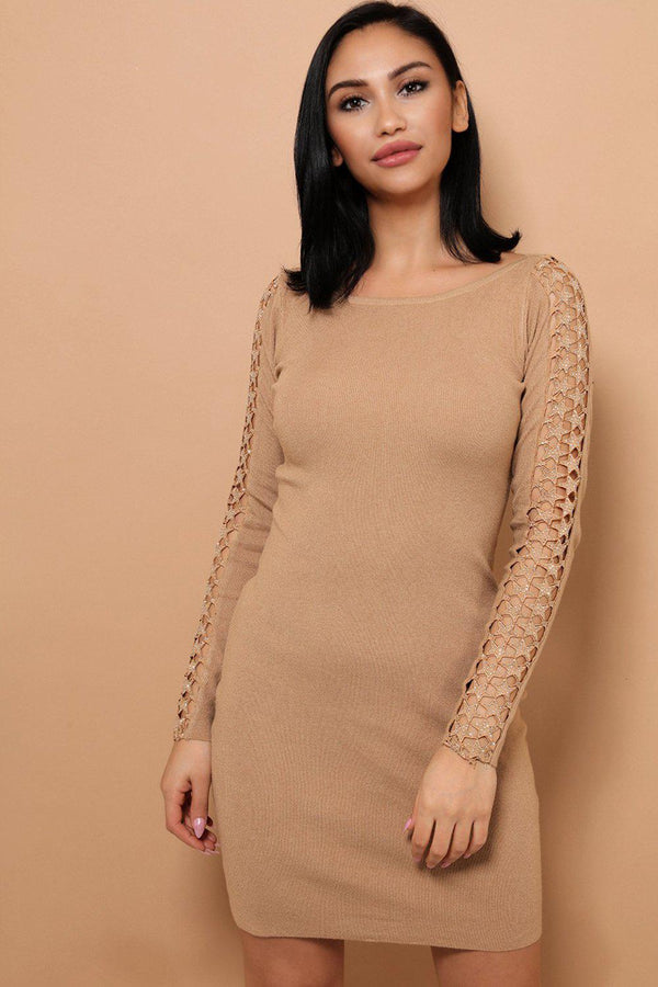 Beige Embellished Star Lace Soft Knit Mini Dress - SinglePrice