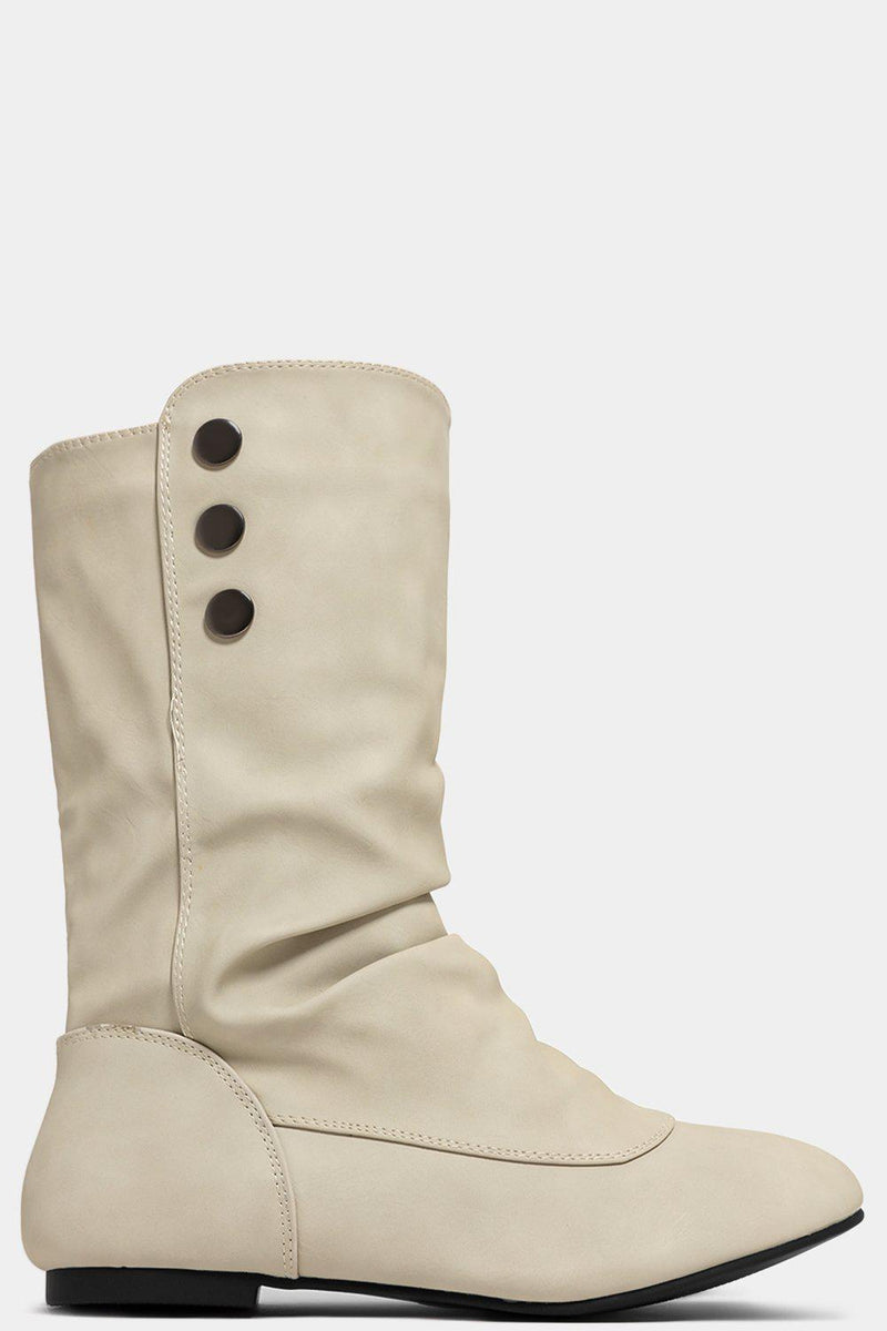 Beige Button Details Ruched Ankle Boots - SinglePrice