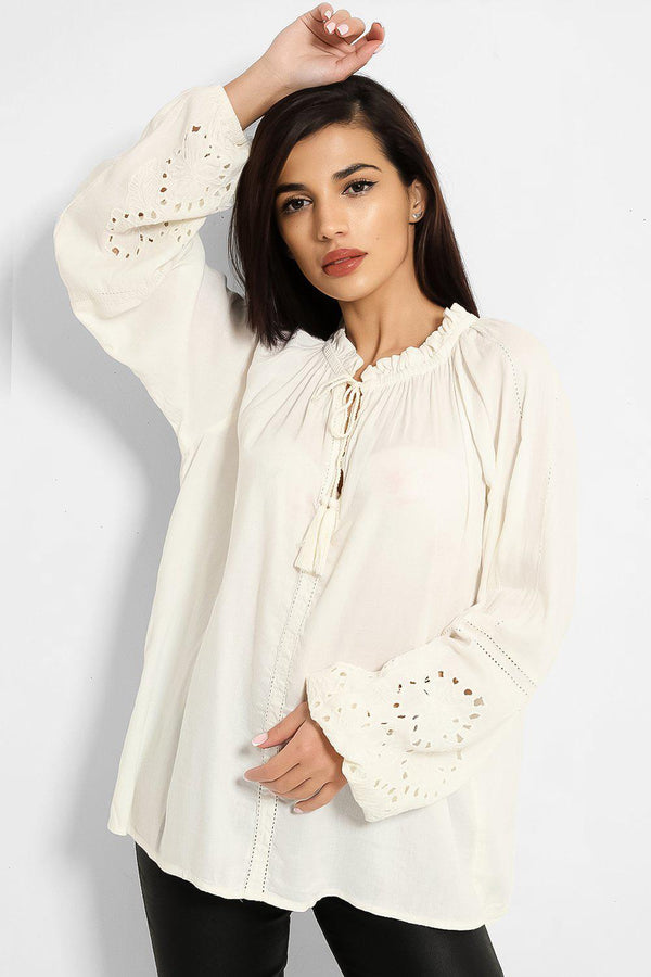 Cream Crochet Balloon Sleeves Cotton Blend Top-SinglePrice
