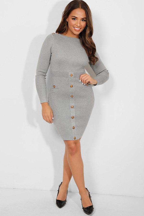 Gold Buttons Grey Bateau Neckline Knitted Dress-SinglePrice