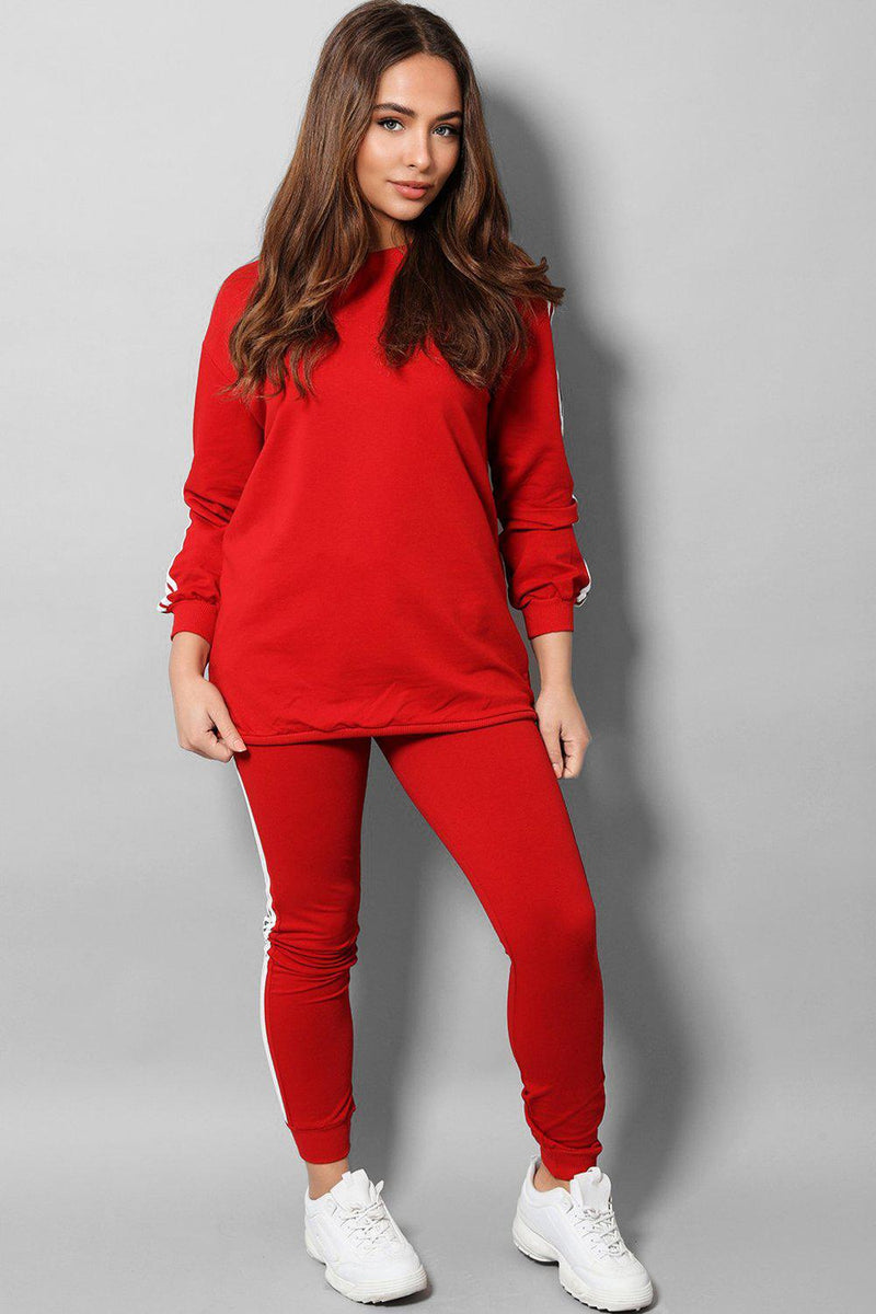 Red Slogan Back Side Twin Stripe Detail 2 Piece Tracksuit - SinglePrice