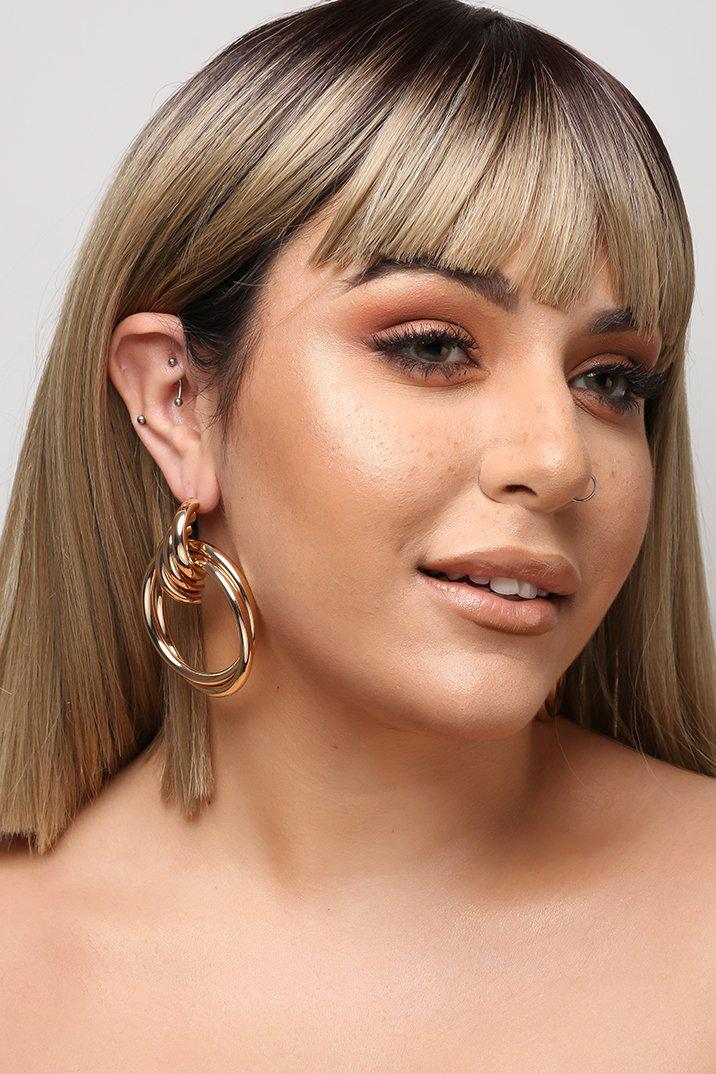 Gold Layered Hoops Earrings-SinglePrice