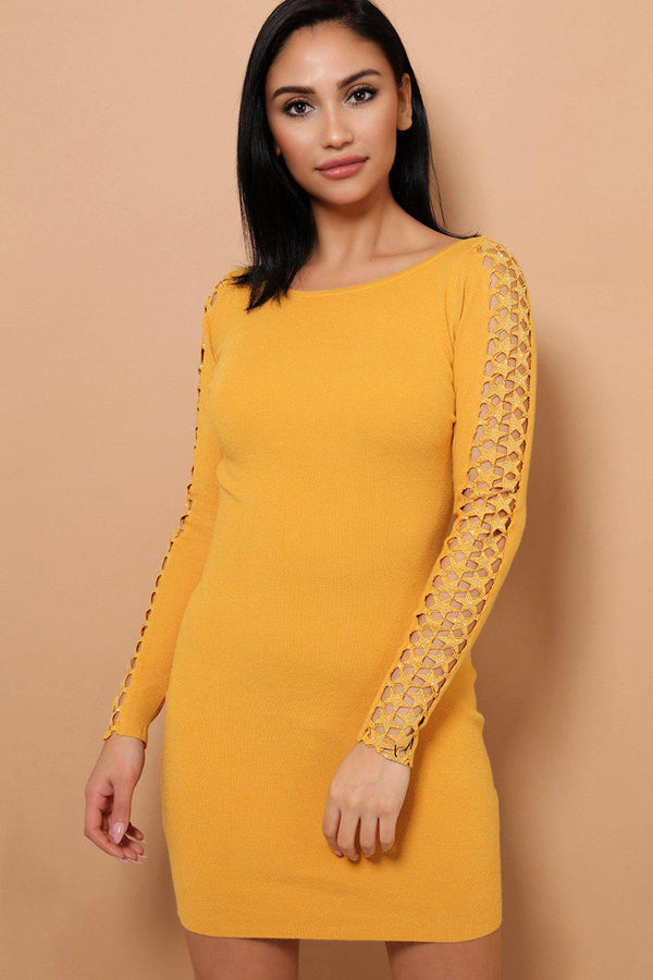 Mustard Embellished Star Lace Soft Knit Mini Dress - SinglePrice
