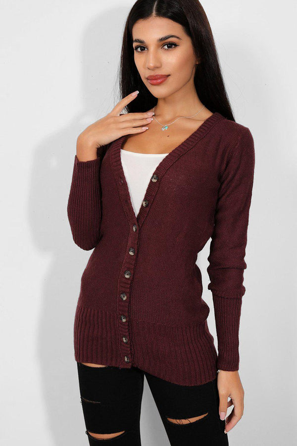 Burgundy Buttoned Down V-Neck Cardigan - SinglePrice