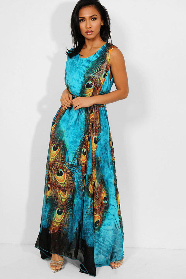 Teal Peacock Print Sleeveless Waist Tie Maxi Dress-SinglePrice