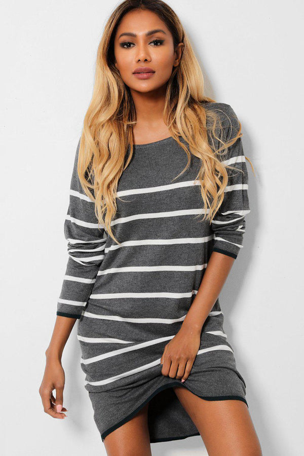 Grey White Stripes Relaxed Fit Knitted Dress-SinglePrice