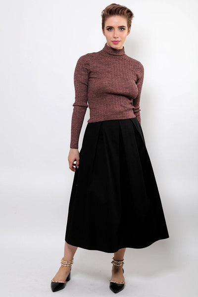 Smoky Pink High Neck Knitted Pullover-SinglePrice