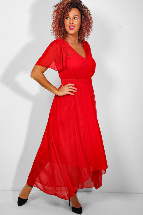 Red Mesh Overlay Sweetheart Maxi Dress - SinglePrice