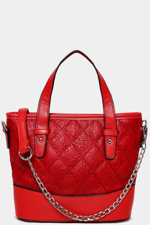 Solid Red Vegan Leather Quilted Mini Handbag-SinglePrice