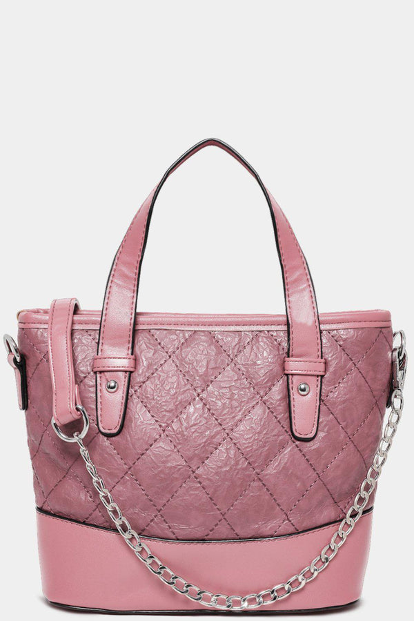 Pink Vegan Leather Quilted Mini Handbag-SinglePrice
