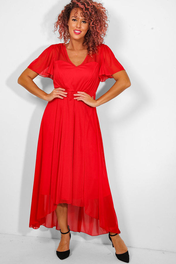 Red Mesh Overlay Sweetheart Maxi Dress-SinglePrice