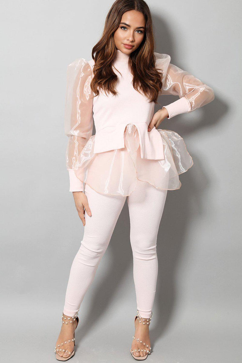 Pink Organza Shirt Insert Puff Sleeves 2 Piece Set - SinglePrice
