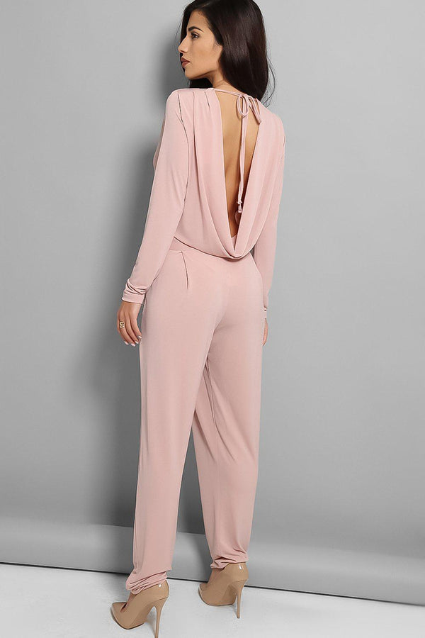 Nude Pink Cowl Back Jumpsuit