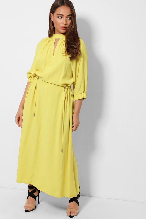 Yellow Drawstring Waist Cut Out Detail Maxi Dress - SinglePrice