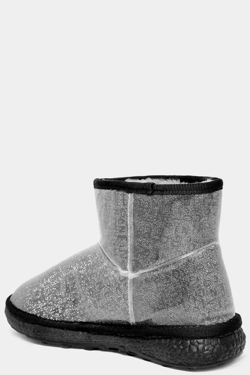 Grey Clear Perspex Outer Letters Print Warm Boots - SinglePrice