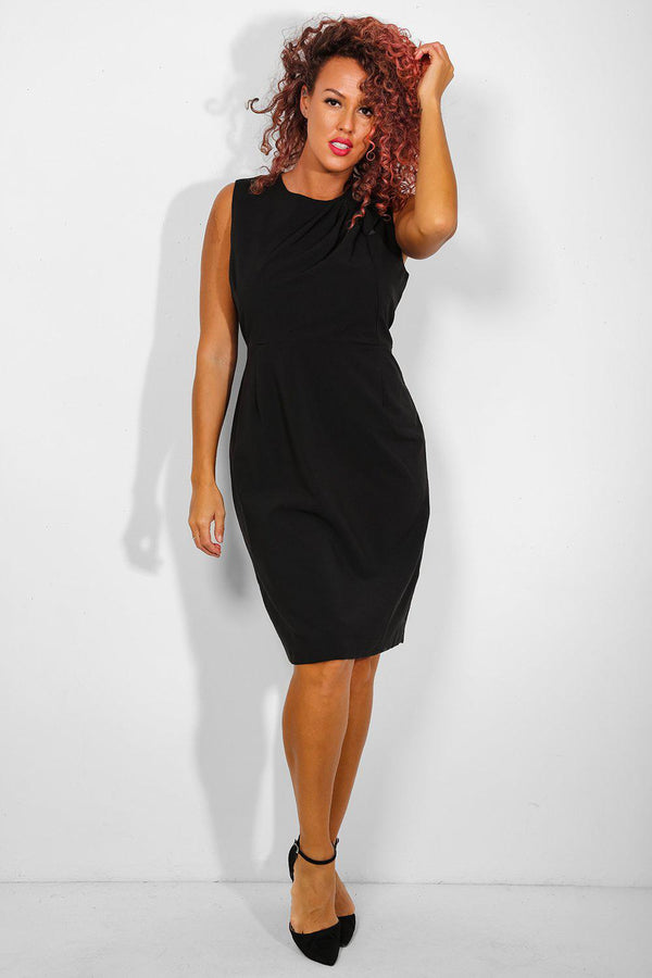 Black Gathered To Shoulder Bodycon Dress-SinglePrice