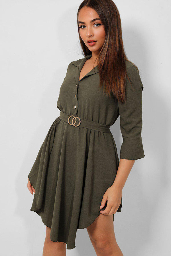 Khaki Belted Asymmetric Hem Shirt Dress - SinglePrice