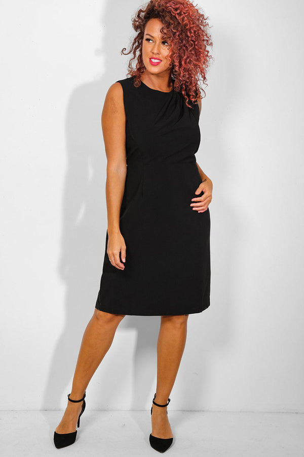 Black Gathered To Shoulder Bodycon Dress