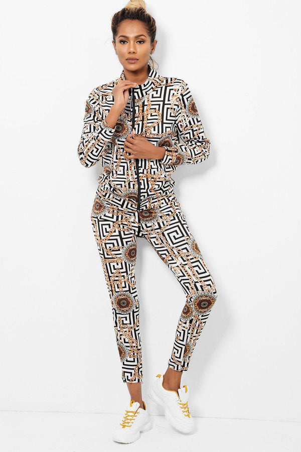 Black And White Logo Print 2 Piece Tracksuit-SinglePrice