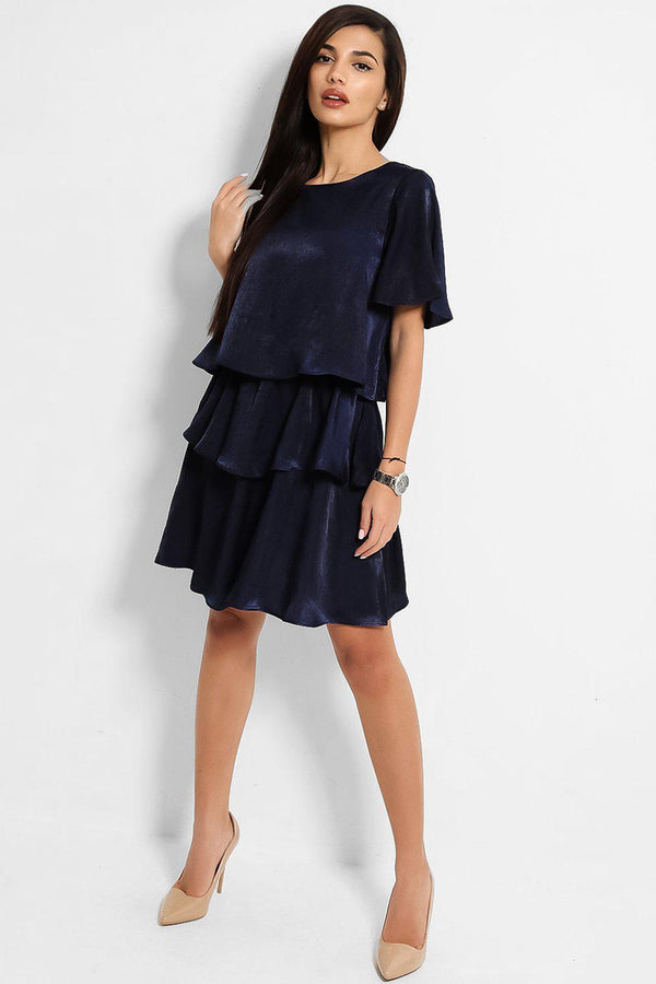 Navy Crushed Satin Layered Dress-SinglePrice