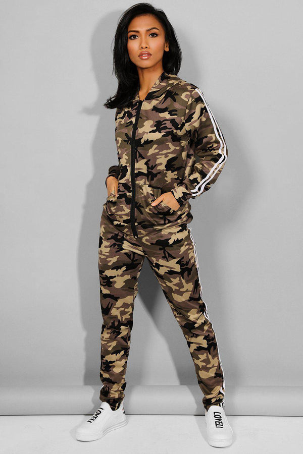 Beige Camouflage Print 2 Piece Tracksuit - SinglePrice