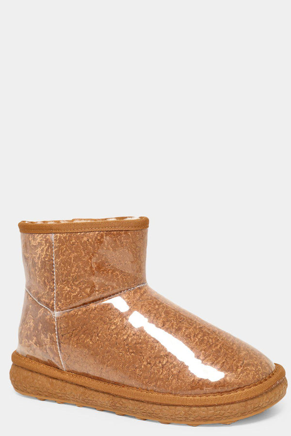 Camel Clear Perspex Outer Curly Faux Fur Warm Boots - SinglePrice