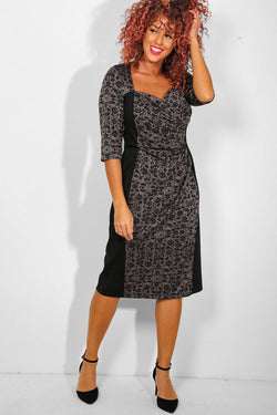 Grey Floral Print Sweetheart Midi Dress - SinglePrice