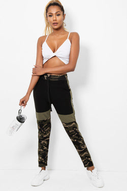 Khaki Colour Block Camo Print Tracksuit Bottoms - SinglePrice