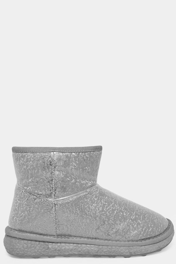 Grey Clear Perspex Outer Curly Faux Fur Warm Boots - SinglePrice