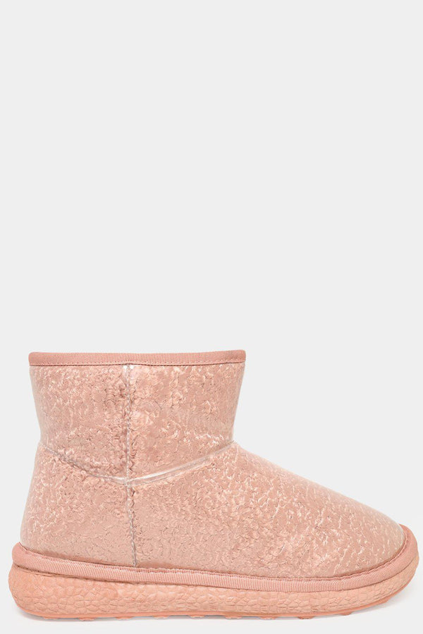 Pink Clear Perspex Outer Curly Faux Fur Warm Boots - SinglePrice