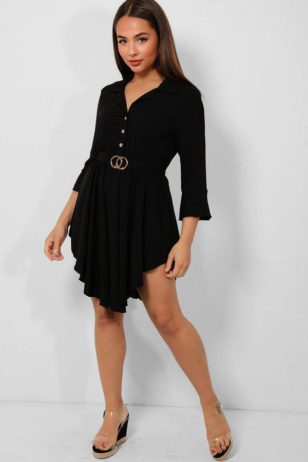 Black Belted Asymmetric Hem Shirt Dress - SinglePrice