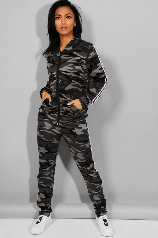 Grey Camouflage Print 2 Piece Tracksuit - SinglePrice