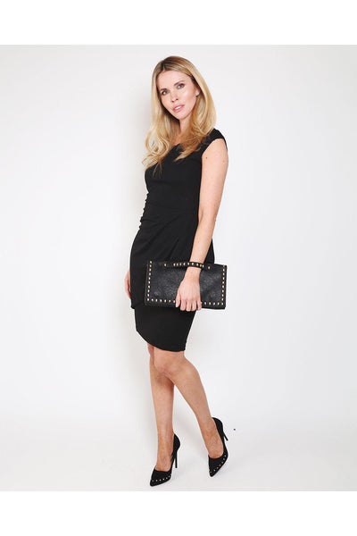 Black Draped Side Bodycon Dress-SinglePrice