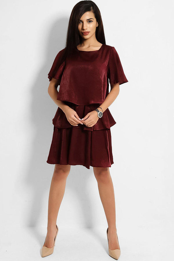 Burgundy Crushed Satin Layered Dress-SinglePrice