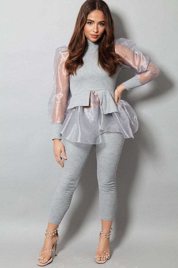 Grey Organza Shirt Insert Puff Sleeves 2 Piece Set - SinglePrice