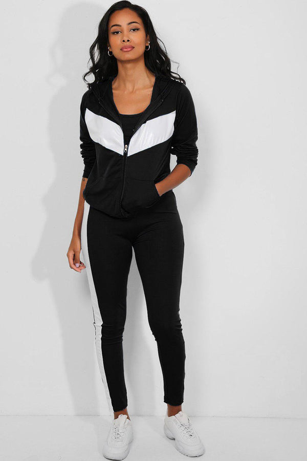 Black Contrast Vegan Leather Panels 3 Piece Tracksuit - SinglePrice